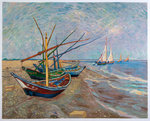 Fishing Boats on the Beach at Saintes-Maries Van Gogh reproduction