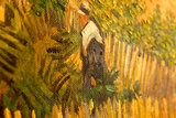 detail Harvest La Crau with Montmajour in the Background Van Gogh reproduction