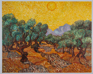 Olive Trees with Yellow Sky and Sun Van Gogh Reproduction