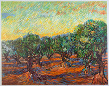 Olive Grove: Orange Sky Van Gogh reproduction